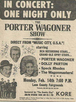 Porter Wagoner Show at Lane County Fair Grounds 1972