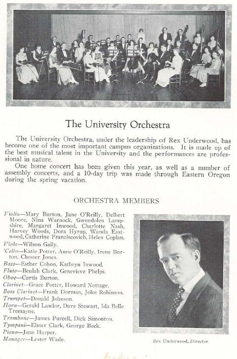 University Orchestra, rex underwood