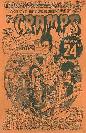 BJ Kelly poster of Cramps and the Burners